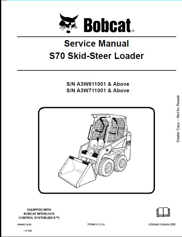 bobcat s70 skid-steer loader service manual a3w611001 ... bobcat skid steer belt diagrams bobcat skid steer control wiring #6