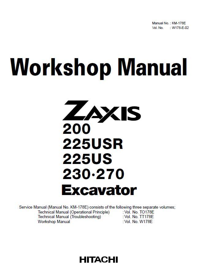 hitachi zaxis 200 225 230 270 excavator workshop service manual rh sellmanuals com Hitachi Excavators Service Manual Hitachi Excavators