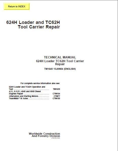 john deere 624h loader tc62h tool carrier repair technical manual rh sellmanuals com John Deere 944K John Deere 624H Service Manual