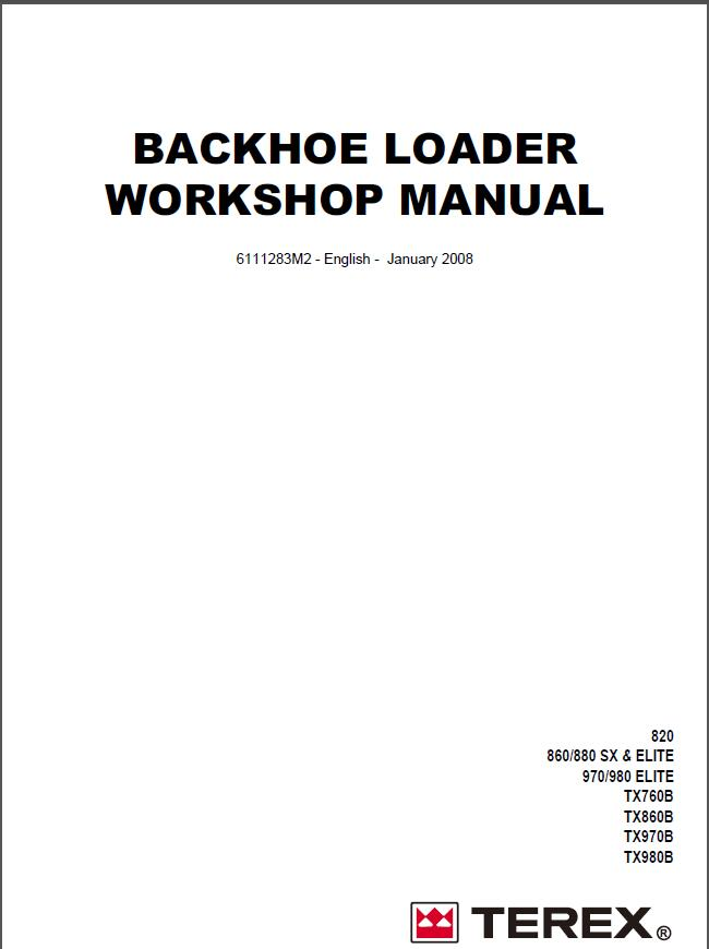 terex backhoe loader tx760 860 970 980 workshop manual rh sellmanuals com Terex 860 Terex 860