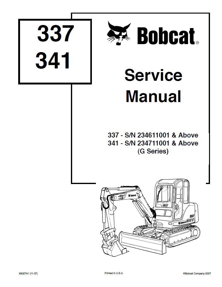 bobcat 337 341 g series service repair manual pdf. Black Bedroom Furniture Sets. Home Design Ideas