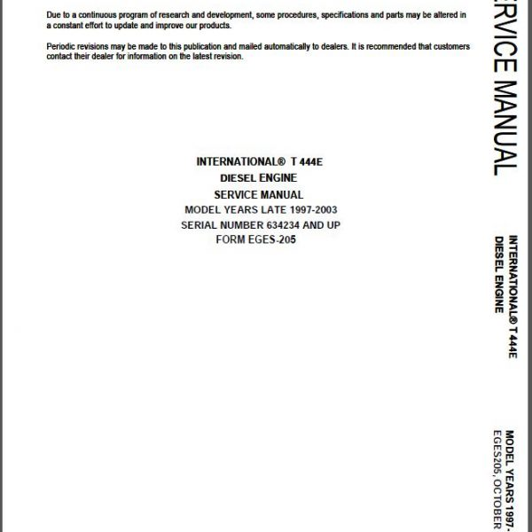 International T444e service Manual