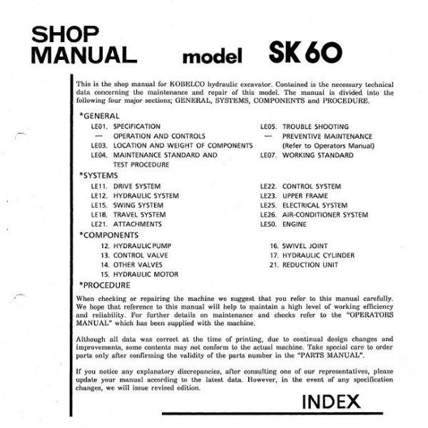 Kobelco SK60 Hydraulic Excavator Service Shop Manual