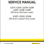 New Holland L213 C238 Loader Service Manual