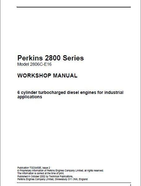Perkins 2800 Series 2806C – E16 Workshop manual