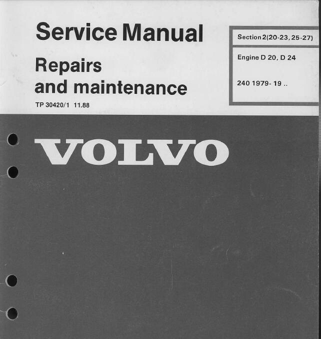 Volvo Engine D20 D24 Service Repair Manual And Maintenance