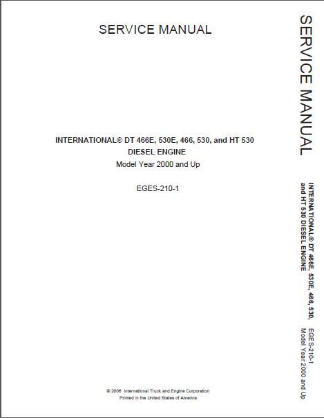 2000 International Dt466 530 466e 530e Diesel Engine Service Manual