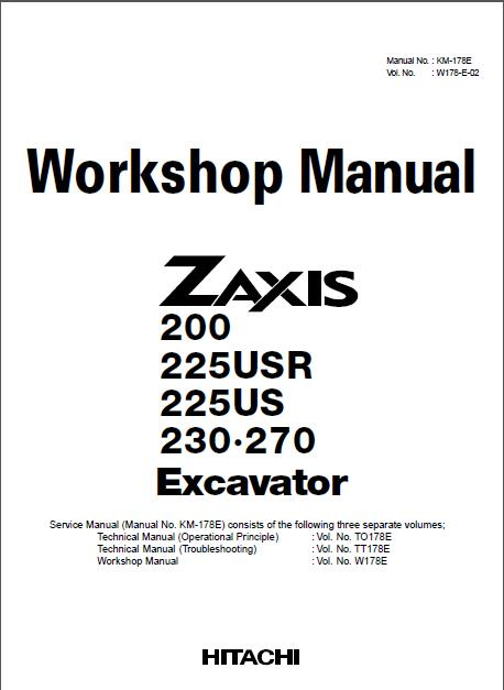 hitachi zaxis zx200 225usr 225us 230 270 workshop manual rh sellmanuals com hitachi excavator workshop manual hitachi lx70 workshop manual