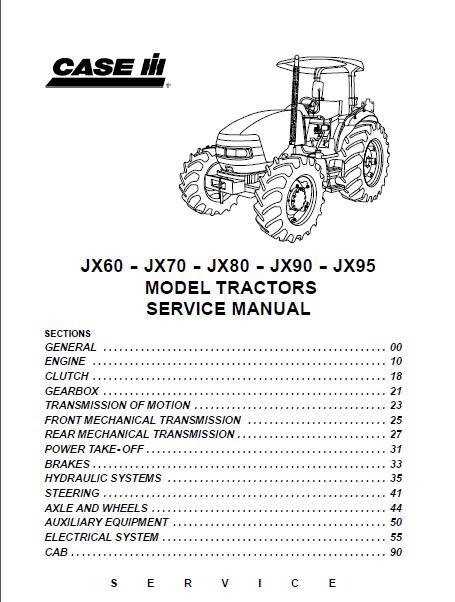 case ih jx60 jx70 jx80 jx90 jx95 tractor service manual rh sellmanuals com Case IH JX60 Tractor Infiniti JX 60