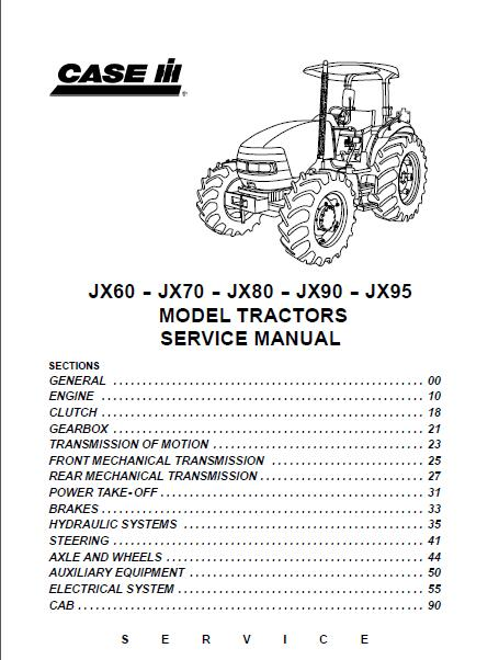 case ih jx60 jx70 jx80 jx90 jx95 tractor service manual rh sellmanuals com case ih farmall 95 service manual Case IH Farmall 95 PTO Cable