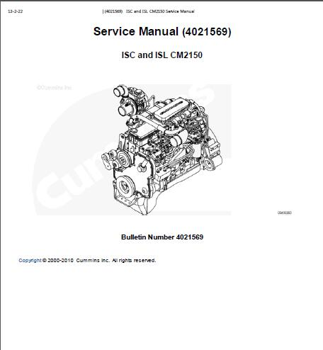 cummins isc isl cm2150 engine service manual rh sellmanuals com Cummins Sign ISX Cummins Shop Manual