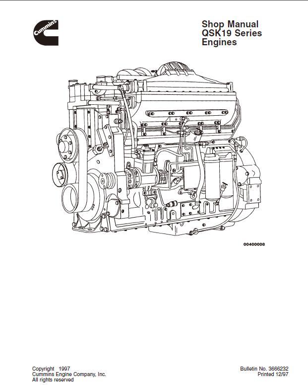 Cummins Qsk19 Series Diesel Engine Shop Repair Manual
