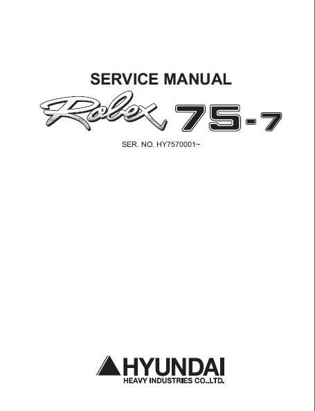 hyundai excavator service manual pdf