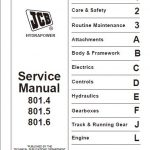 JCB 801.4 801.5 801.6 Mini Excavator Service Manual