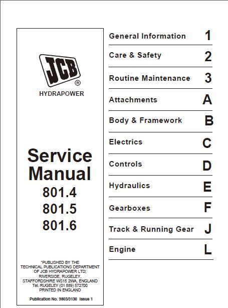 jcb 801 4 801 5 801 6 mini excavator service manual. Black Bedroom Furniture Sets. Home Design Ideas