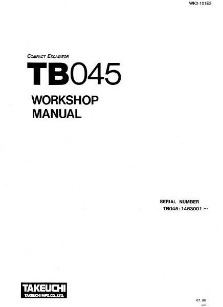Takeuchi TB045 Workshop Manual