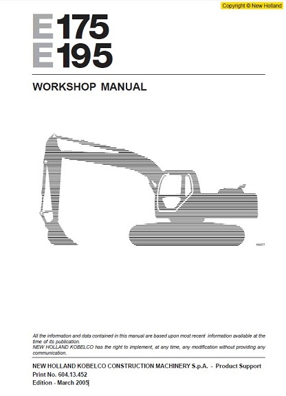 New-Holland-Kobelco-E175B-E195B-Crawler-Excavator-Service-Manual
