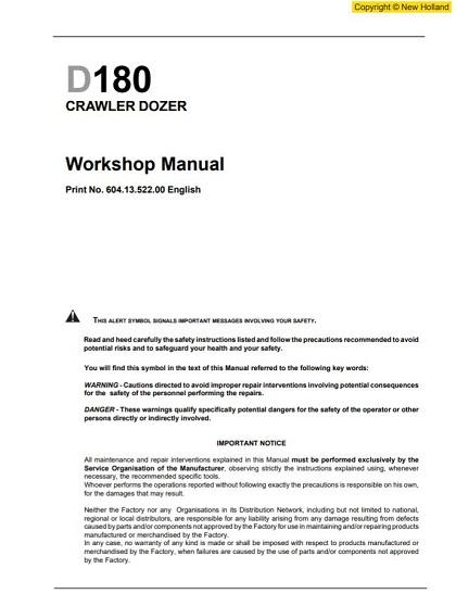 New Holland D180 Workshop Manual