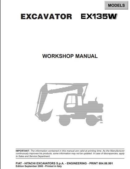 Fiat Hitachi Excavators EX135W Workshop Manual