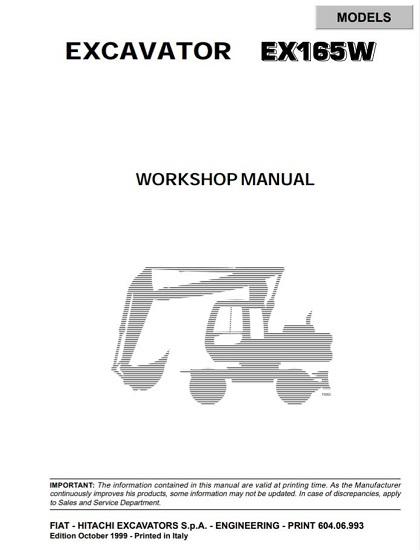 Fiat Hitachi Excavators EX165W Workshop Manual