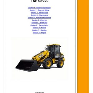 JCB TM180, TM220 Telescopic Wheeled Loader Manual