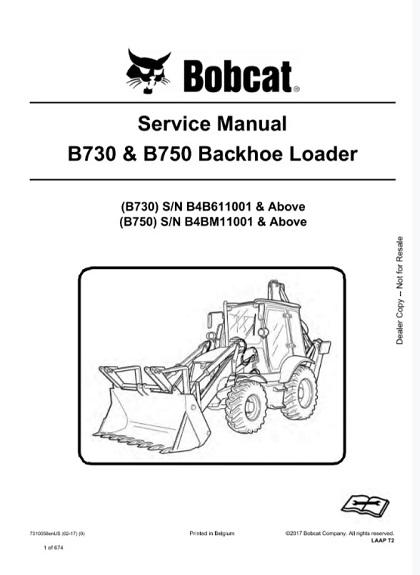 Bobcat B730 , B750 Backhoe Loader Service Manual
