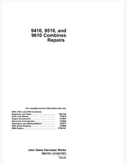 John Deere 9410, 9510, 9610 Combines Technical Manual