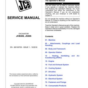 JCB JCB305, JS305 Excavator Service Repair Manual