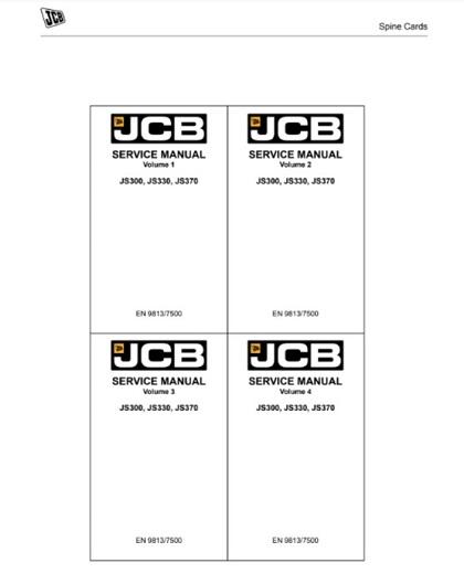 JCB JS300, JS330, JS370 Tracked Excavators Service Manual