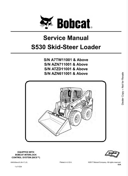 Bobcat S530 Skid - Steer Loader Service Manual