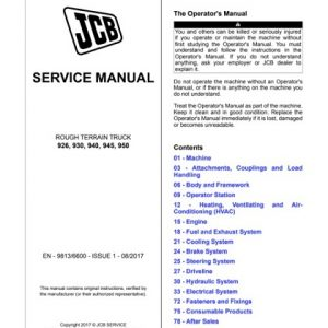 JCB Rough Terrain ForkLifts 926, 930, 940, 950 Service Manual