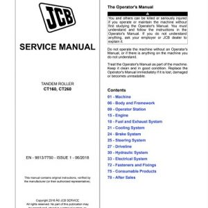 JCB CT160, CT260 Tandem Roller Service Manual