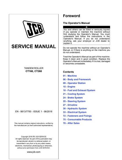 JCB CT160, CT260 Tandem Roller Service Manual