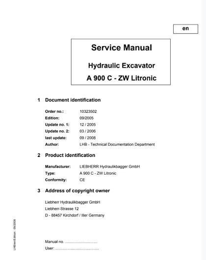 Liebherr A900C-ZW Litronic Hydraulic Excavator Service Manual