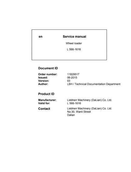 Liebherr L566 - 1616 Wheel loader Service Manual PDF