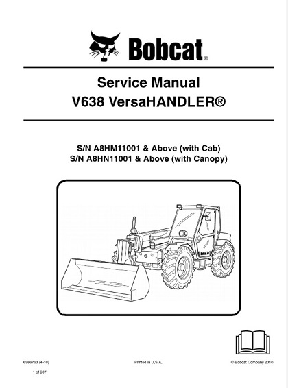 Bobcat V638 VersaHandler Service Repair Manual