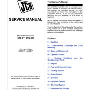 JCB 3TS-8T, 3TS-8W Skid-Steer Loader Service Manual