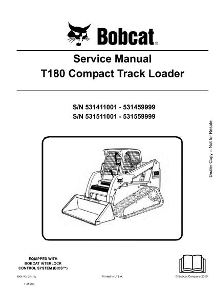 Bobcat T180 Compact Track Loader Service Manual