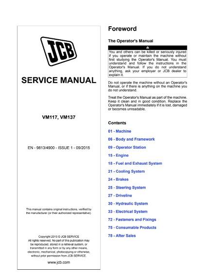 JCB VM117, VM137 Vibratory Roller Service Manual