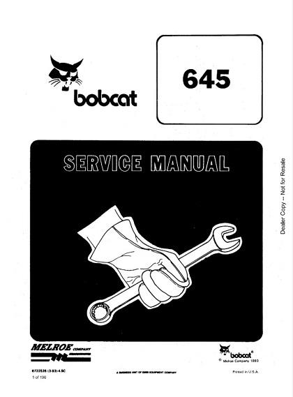 Bobcat 645 Loader Service Manual