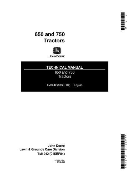 John Deere 650 And 750 Tractors Technical Manual